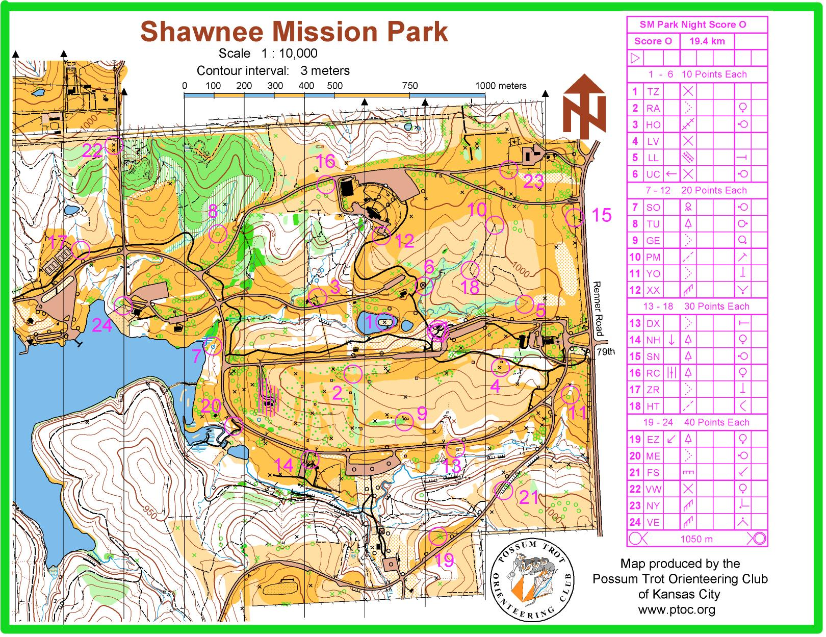 Shawnee Mission Park Night O - October 9th 2010 - Orienteering Map ...